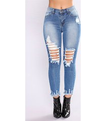 bolsillos azules detalles rasgados al azar jeans de cintura media