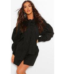 oversized drop shoulder blouse jurk met strik, zwart