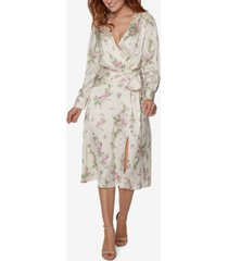 sage collective tie-waist floral wrap midi dress