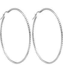 orecchini cerchio 50 mm in argento 925 rodiato per donna