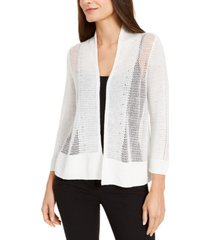 alfani petite mixed-knit open-front cardigan, created for macy's