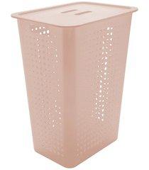 cesta de roupas com tampa organizar 47 litros bege