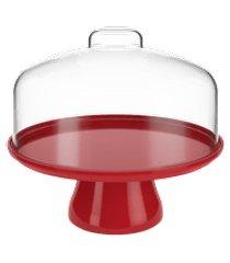 boleira média cake com cúpula 25 x 25 x 22 cm vermelho bold coza vermelho