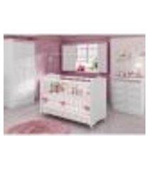 quarto de bebê completo sabrina plus 3 em 1 - branco/rosa