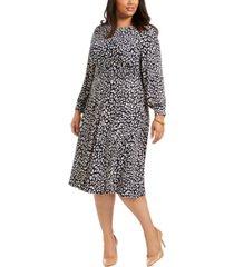 jessica howard plus size printed long-sleeve dress