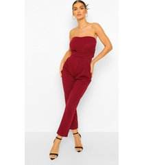 bandeau tailored woven slim fit jumpsuit, berry