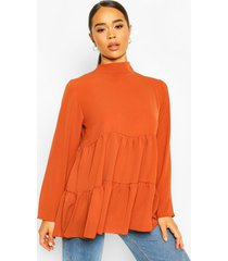 woven smock tunic top, terracotta