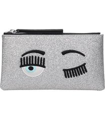 chiara ferragni clutch in silver leather