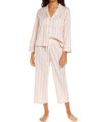 women's ugg katharine stripe crop pajamas, size x-small regular - pink