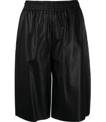 mm6 maison margiela faux-leather knee-length shorts - black