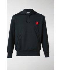 comme des garçons play heart appliqué hoodie
