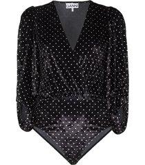 ganni velvet-effect polka dot bodysuit - black