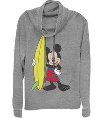 fifth sun juniors disney mickey classic mickey surf fleece cowl neck sweatshirt