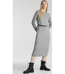 vestido de punto con cinturón gris esprit