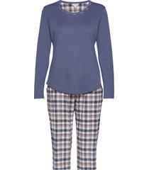 cotton flannel pyjamas pyjama blauw lady avenue
