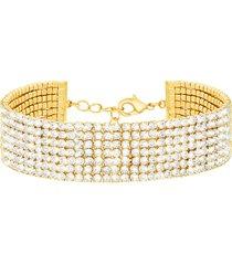 bracciale multifilo largo in metallo dorato con strass per donna