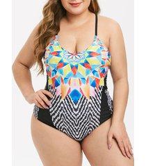 plus size geometry one-piece swimsuit