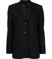 diesel micro-studded wool blazer - black