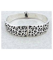 sterling silver bangle bracelet, 'jaguar path' (mexico)