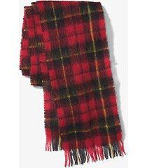 mk sciarpa in mohair con motivo scozzese - cremisi (rosso) - michael kors