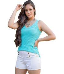 tricã´ blusa regata pink tricot canelado com alã§as verde claro - unico/verde/verde oliva - feminino - dafiti