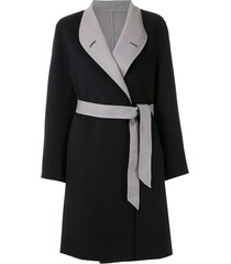emporio armani wrap-style coat - black
