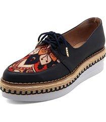 zapato casual azul por lona lorena herrera