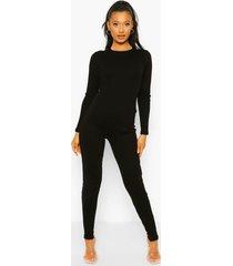 geribbelde skinny fit jumpsuit met open rug en lange mouwen, black