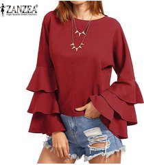 zanzea s-5xl para mujer primavera otoño camisa de manga larga sólido de bell blusas femininos señoras flojas mariposa fluncing colmena de blusas (vino tinto) -rojo