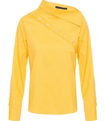 camisa feminina botões transversal - amarelo