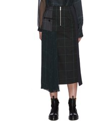 deconstructed contrast panel glen check midi skirt