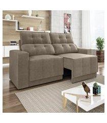 sofá 4 lugares net jaguar assento retrátil e reclinável capuccino 2,30m (l)