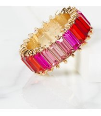 lane bryant women's baguette faceted stone ring - ombre pink 11 gold tone