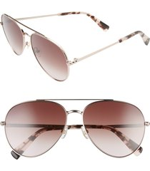 women's rebecca minkoff stevie 63mm oversize gradient aviator sunglasses - red gold/ brown gradient