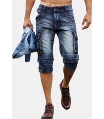 jeans a maniche corte da uomo con tasche posteriori multi tasche