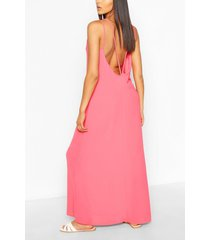 strappy back woven maxi dress, coral