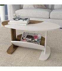 mesa de centro isis com nicho pinho/off white - artely
