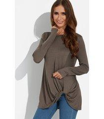 marrón twist round cuello camiseta de manga larga con dobladillo irregular