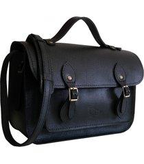 bolsa line store leather satchel pequena couro preto