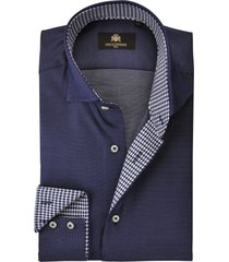 circle of gentlemen heren overhemd blauw fijne stip cutaway slim fit