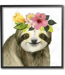 "stupell industries coachella ready sloth in flower crown framed giclee art 12"" l x 1.5"" w x 12"" h"