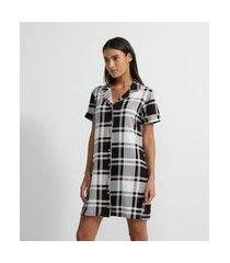 camisola manga curta xadrez com abertura | lov | cinza médio | p