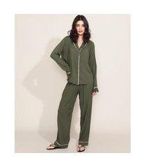pijama feminino camisa com vivo contrastante manga longa verde