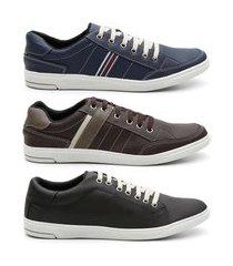 kit 3 pares sapatênis masculino tênis casual sola borracha azul, café e preto 44
