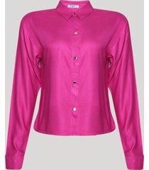 camisa feminina manga longa com botões de pressão pink