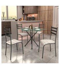 conjunto de mesa com tampo de vidro e 4 cadeiras istambul cinza e off white