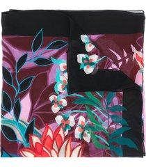 valentino garavani mirrored orchid print scarf - black
