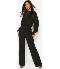tie detail blouson sleeve woven jumpsuit, black