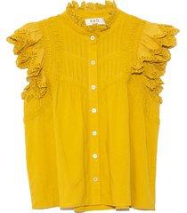 adrienne cotton flutter sleeve top in citron