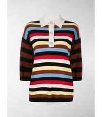 ganni striped polo t-shirt
